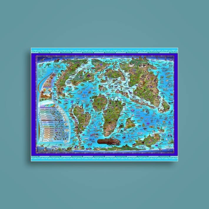 Prehistoric World Children's Illustrated Wall Map