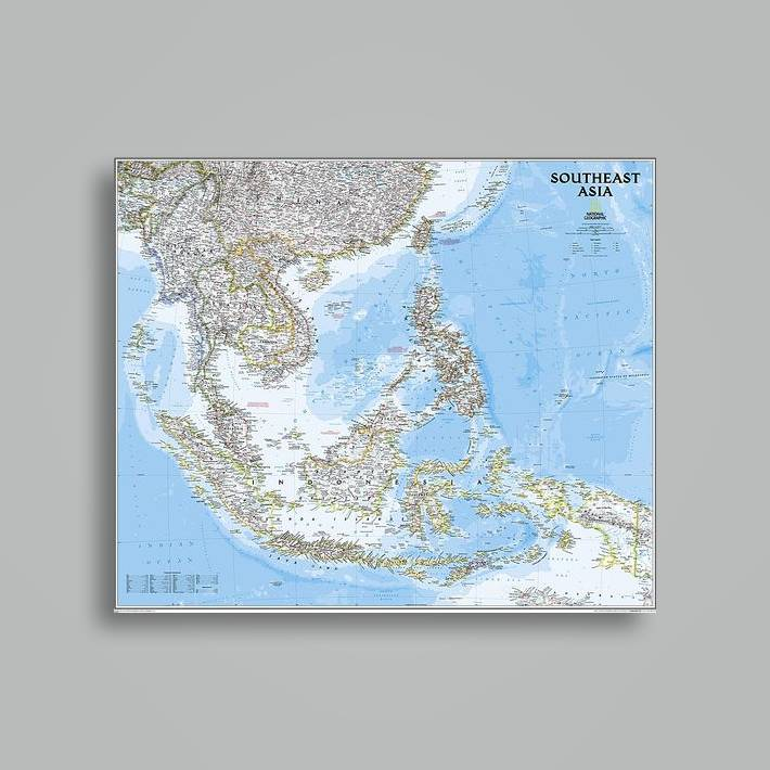 Geographical Map Of Southeast Asia.Southeast Asia Classic Tubed Wall Maps Countries Regions National Geographic Maps Near Me Nearst