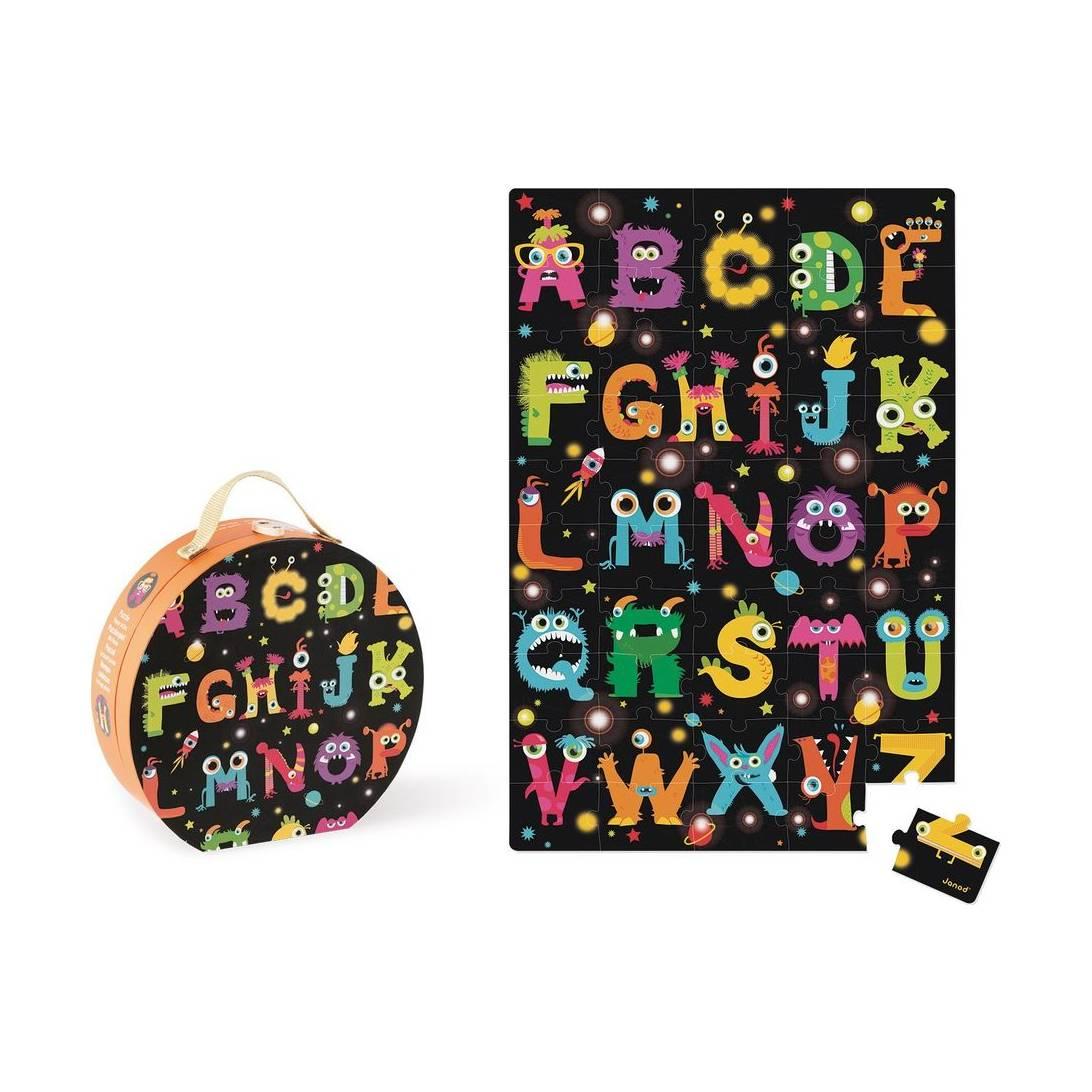 Janod Giant ABC Wooden Monster Puzzle, 50 Pieces