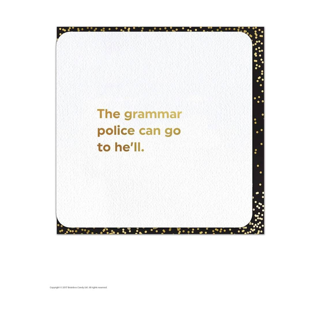 Funny Humorous Grammar Police Gold Foiled Birthday Card