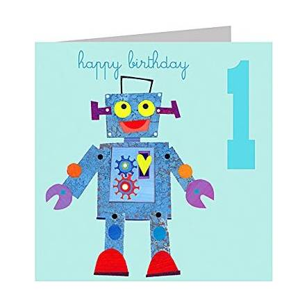 Robot First Birthday Cards For Boys By Kali Stileman Ja01