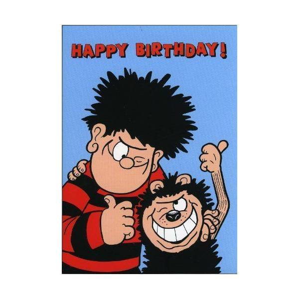 Beano Dennis The Menace And Gnasher Happy Birthday Greeting Card