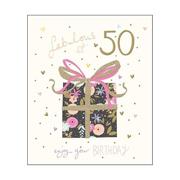 Pretty Happy 50th Birthday Greeting Card Peach Prosecco Range Cards