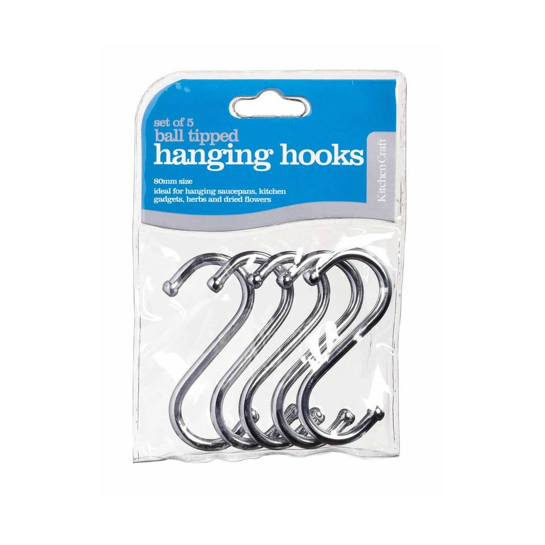 Kitchen Craft Pack of Five 8cm Chrome Plated 'S' Hooks.