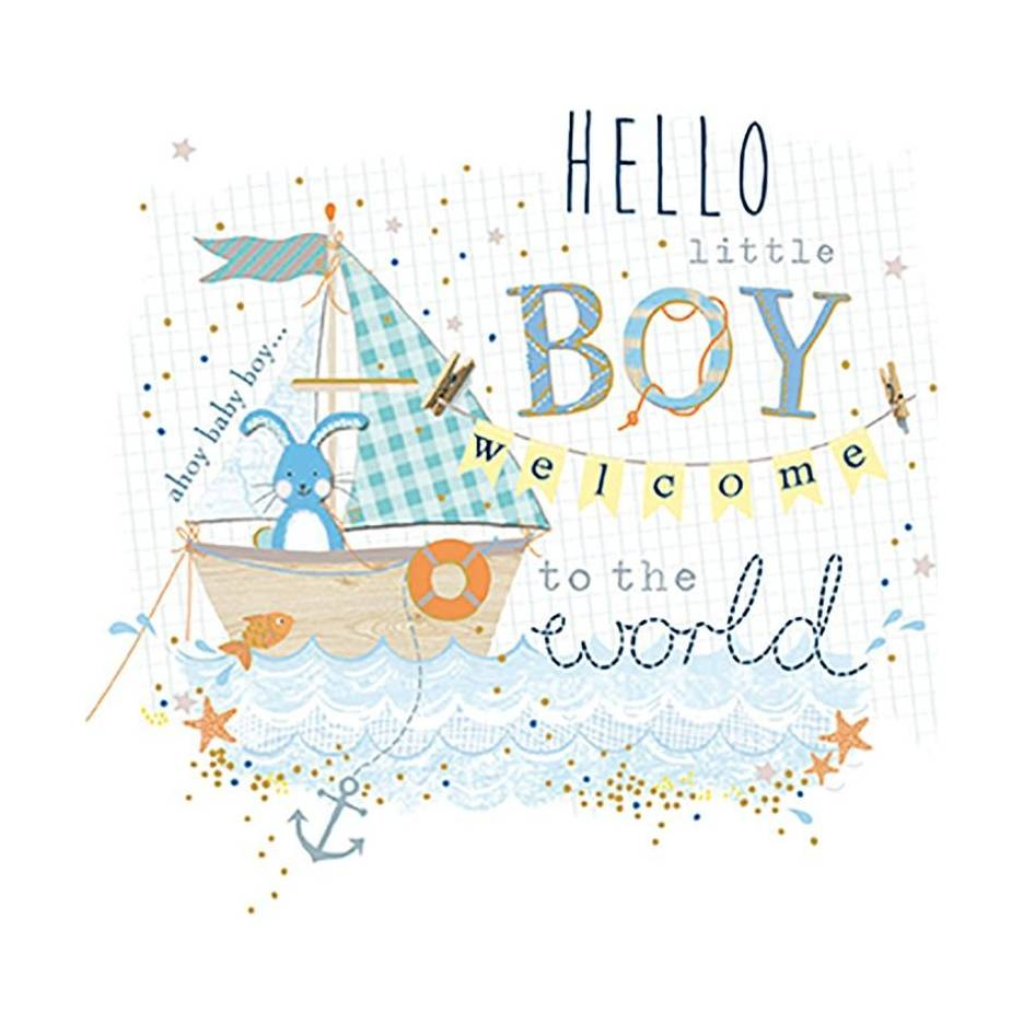 Greeting Card Wdm2116 New Baby Boy Fishing For A Dream Bunny