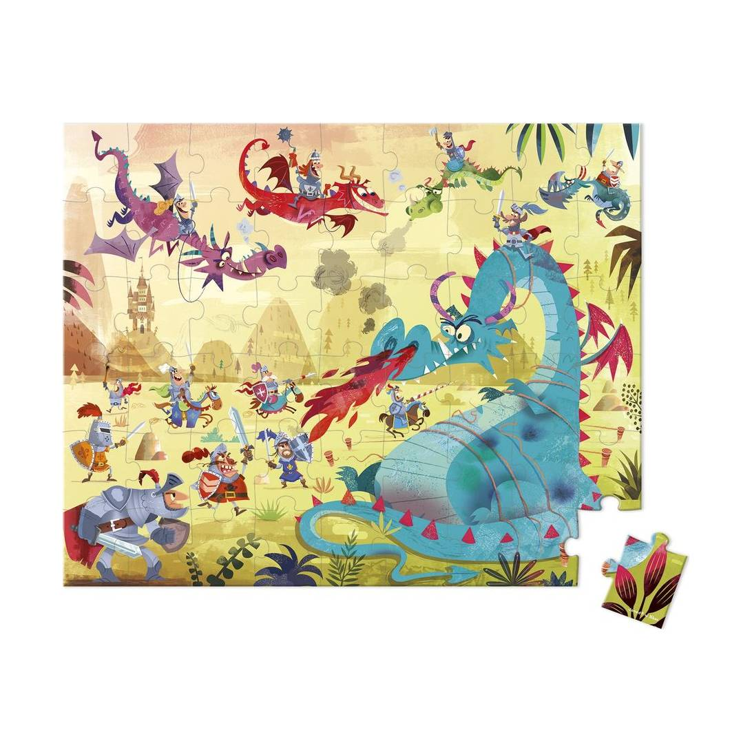 Janod J02763 Round Case Puzzle, Dragons, 54 Pieces