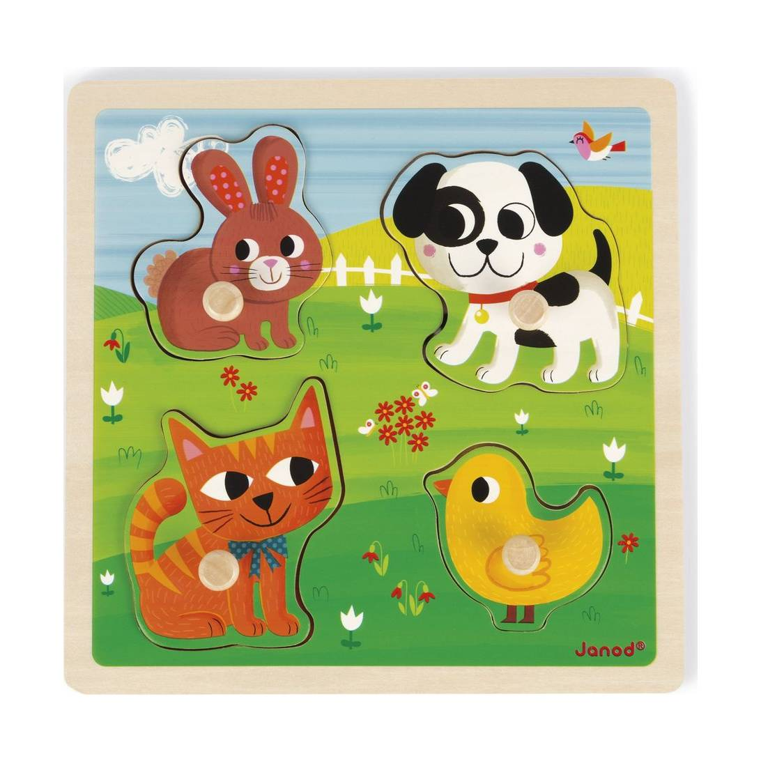 Janod Jura Toys J07080 Tactile My First Animals Puzzle
