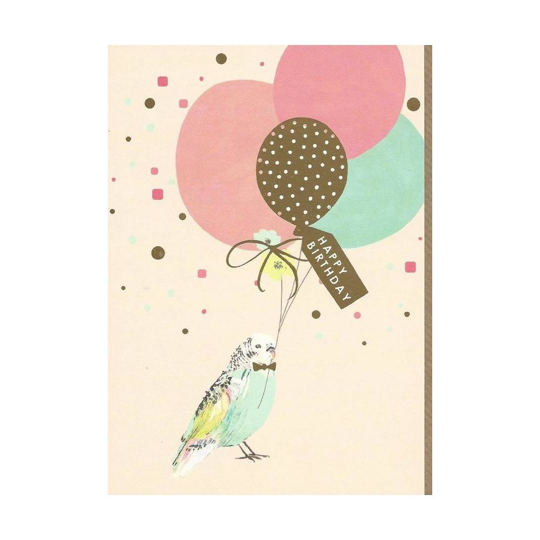 Birthday Greeting Card Designed By Louise Tiler Budgie And Balloons