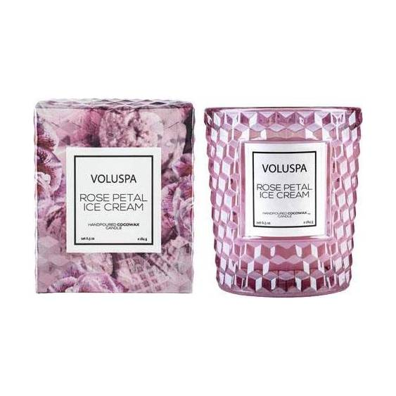 Voluspa Rose Petal Ice Cream Textured Glass Jar Candle Near Me | NearSt