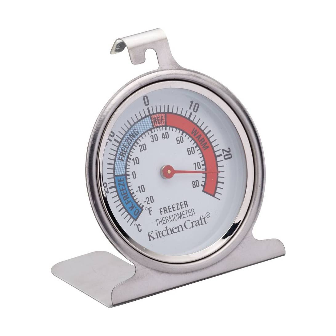 Kitchen Craft Stainless Steel Fridge Freezer Traditional Dial Thermometer.