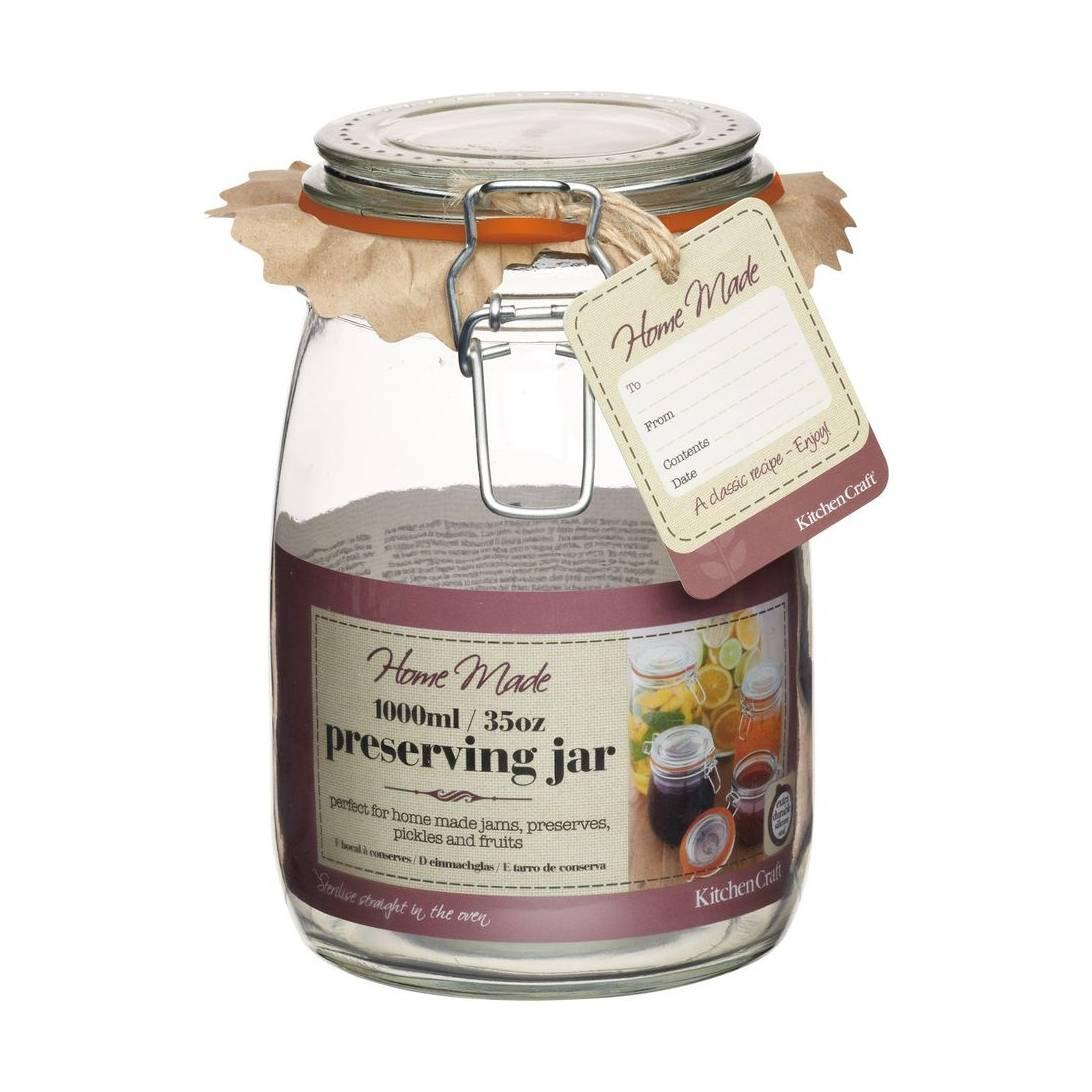 Kitchen Craft 3 x Medium Clip Seal 1 Ltr Glass Preserving Storage Jars.