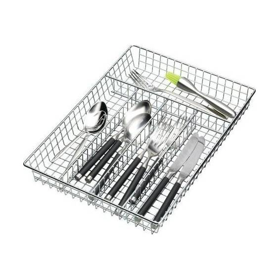 Kitchen Craft Chrome Plated Cutlery Tray with 5-Sections