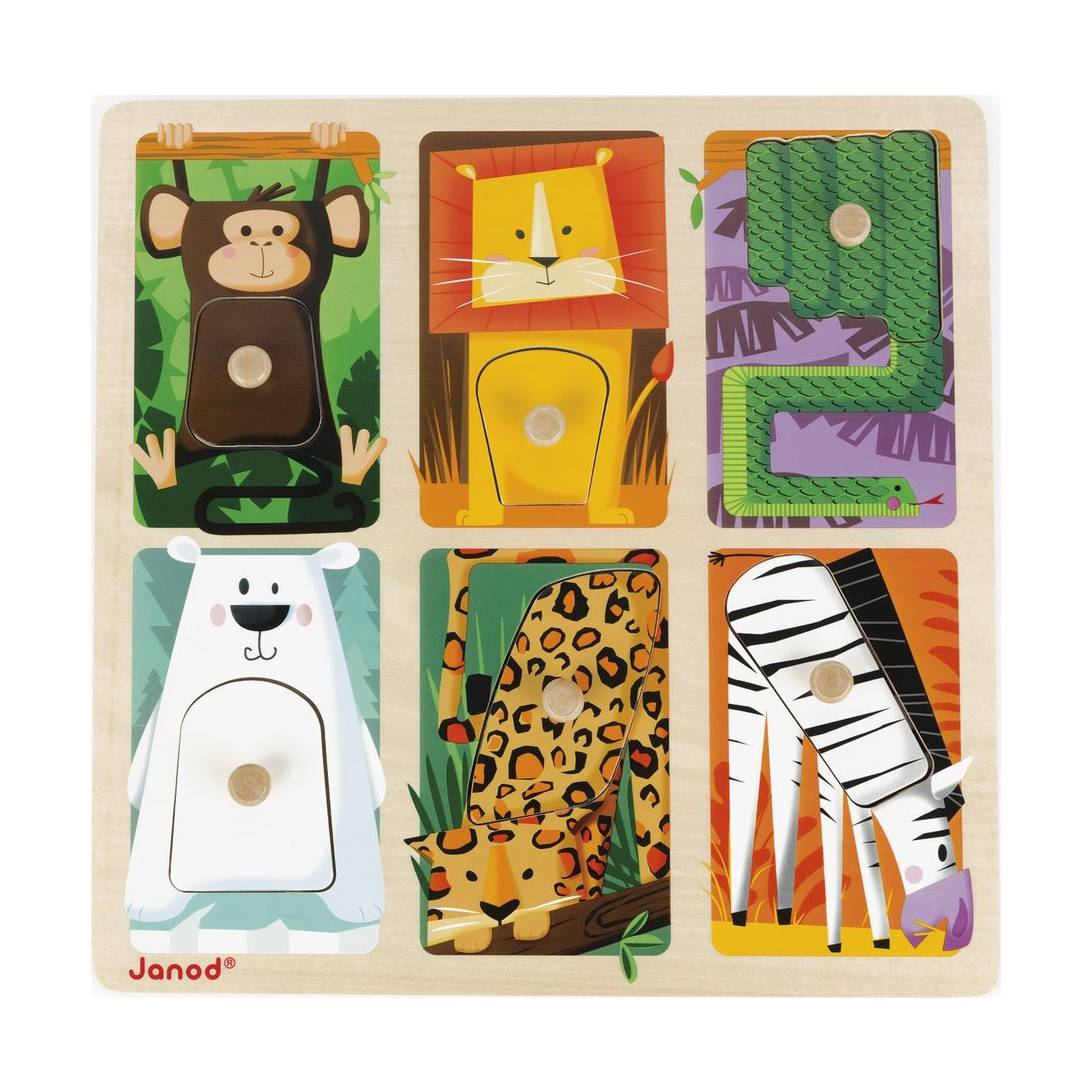 Janod Jura Toys J07081 Zoo Animals Tactile Puzzle