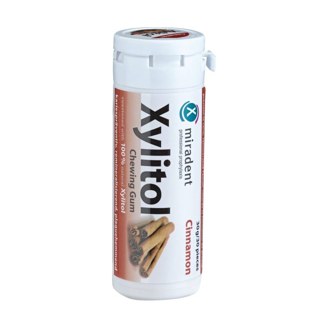 Miradent Xylitol Chewing Gum Cinnamon 30 Pieces pack of 4 (4x 30 g) Near Me  | NearSt