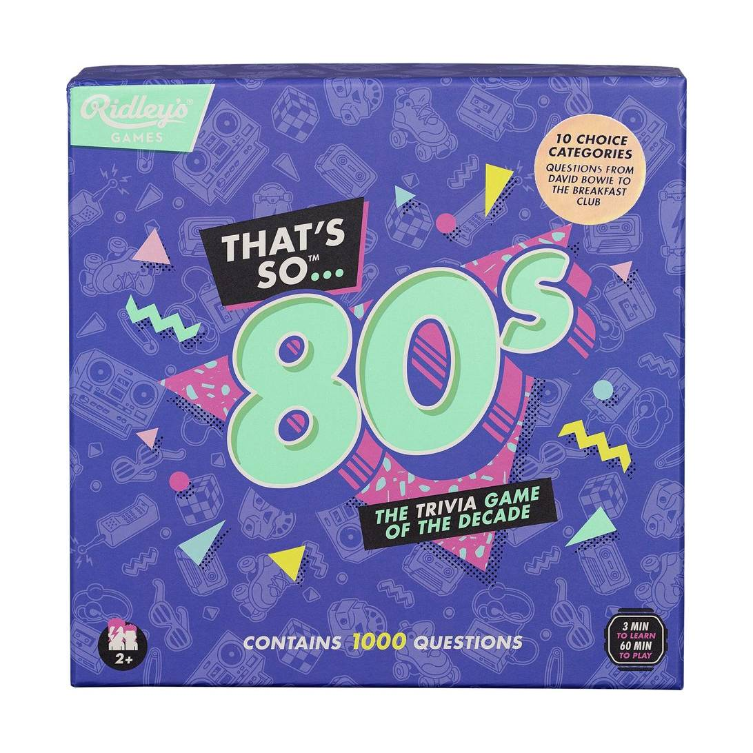 Ridley's |Thats So 80's Quiz | 10 Choice Categories | 1000